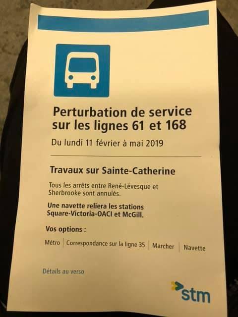 Perturbation de services sur les lignes 61 et 168