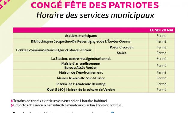 Congé fête des Patriotes – Horaire des services municipaux
