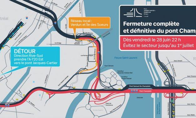 Pont Champlain : Fermeture complète et définitive le 28 juin