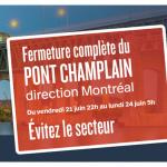 Pont Champlain : Fermeture complète en direction de Montréal le 21 juin