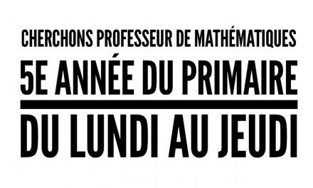 Professeur de mathématiques recherché