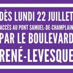 Lundi : accès au pont par René-Levesque (les détails)