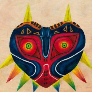 Illustration : Isabelle Goyette, Majora's Mask (2020 - Crayons de couleur 25,5 cm x 25,5 cm)