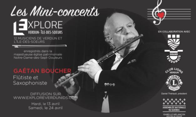 Mini-concerts Explore Verdun IDS – Gaétan Boucher – Flûtiste et saxophoniste